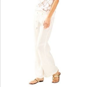 "Lilly Pulitzer 33"" Linen Beach Pants in White"